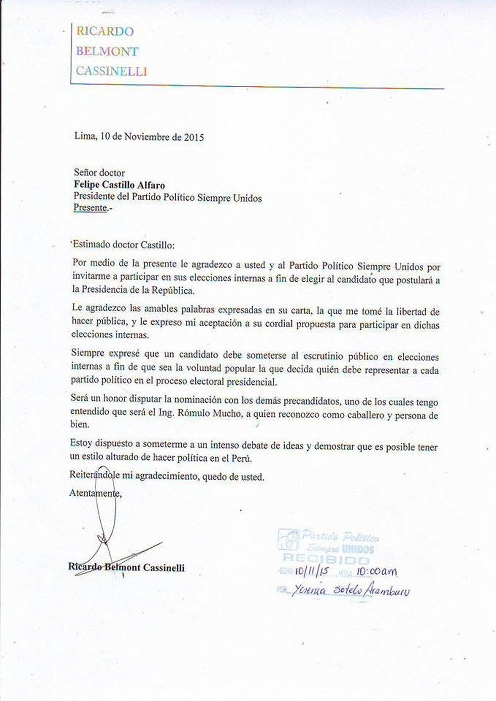 Ricardo Belmont confirmó su precandidatura presidencial - 2