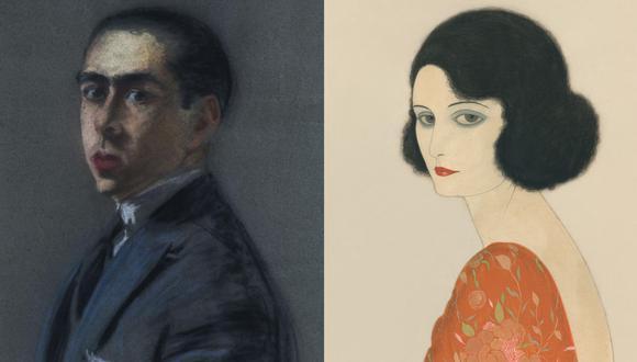 A la izquierda, autorretrato de Reynaldo Luza. A la derecha, una de sus múltiples creaciones. (Fuente: Reynaldo Luza. Pintura y diseño)