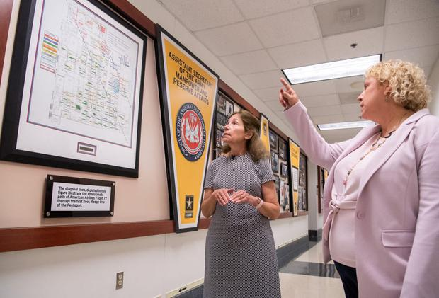 Karen Baker and Elaine Kanellis show where people were working when American Airlines Flight 77 hit the Pentagon building.