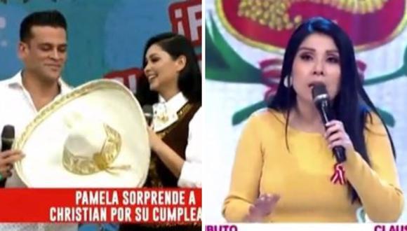 Pamela Franco mostró todo su talento para consentir a su pareja Christian Domínguez, mientras que Tula Rodríguez bromeó sobre trabajar con Maju Mantilla. (Foto: Captura América TV).