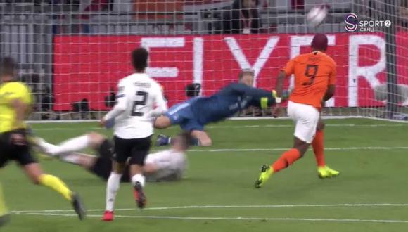 Manuel Neuer realizó un par de sorprendentes atajadas en el Alemania vs. Holanda que evitó el empate de la 'Naranja Mecánica', en el fecha 2 de las eliminatorias para la Eurocopa 2020 (Video: Twitter)