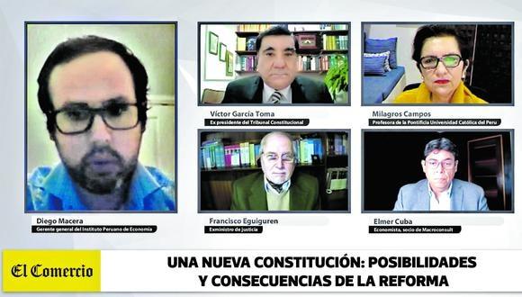 Víctor García Toma, Milagros Campos, Francisco Eguiguren y Elmer Cuba analizan la propuesta de PL  para convocar una asamblea constituyente.