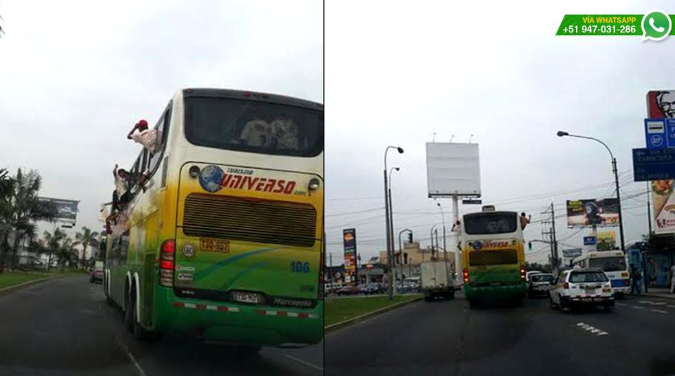 Hinchas de la 'U' viajaron colgados de bus rumbo al Monumental - 5