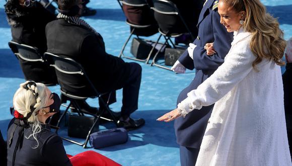 Jennifer López y Lady Gaga se hicieron presente en la toma de mando (Foto: JONATHAN ERNST / AFP)