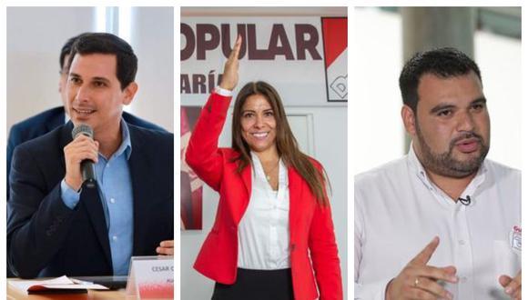 César Combina (APP), Mónica Saavedra (AP), Guillermo Aliaga (Somos Perú), son algunos actuales congresistas que figuran como precandidatos al Parlamento Andino. (Fotos: Grupo El Comercio)
