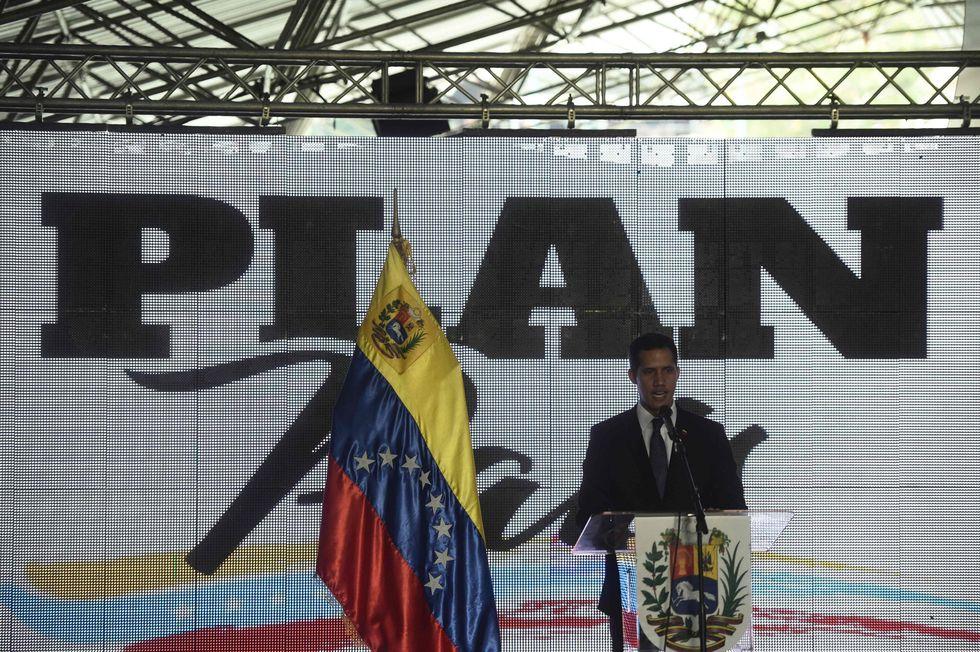 Juan Guaidó presentó este jueves su Plan País en Caracas. (AFP).