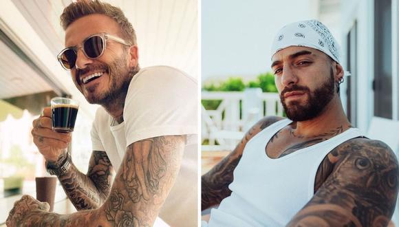 Maluma mostró en sus historias de Instagram como David Beckham entrena con su música. (Foto: Instagram / @maluma / @davidbeckham).