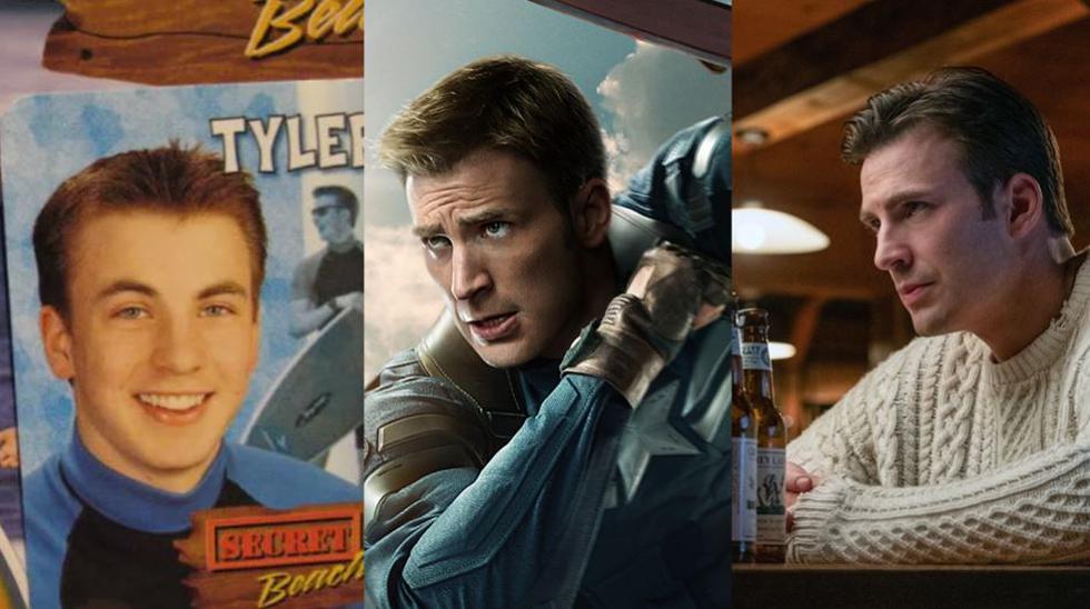 """De izquierda a derecha, Chris Evans como Tyler el surfer en el juego de mesa """"Secret Beach"""", como el Capitán América en el Universo Marvel y como un personaje siniestro que ama las chompas en """"Knives Out"""". (Fotos: Difusión)"""