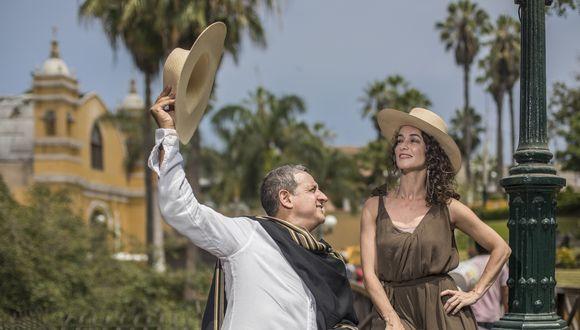 Un suspiro en el puente. Jimena Lindo y Sergio Galliani caracterizados para el espectáculo A Chabuca en Vivo. (Foto: Fidel Carrillo)
