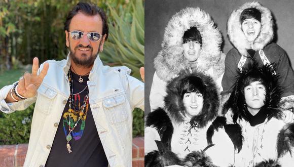 A la izquierda, Ringo Starr en una foto publicada en su Twitter donde celebra sus 81 años en Los Ángeles. A la derecha, en sentido horario, Ringo Starr, George Harrison, John Lennon y Paul McCartney en 1964, en la cima de su fama en Londres. Fotos: @ringostarrmusic/ AFP.