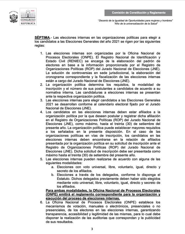 Comisión de Constitución presentó fórmula legal donde fija las reglas de democracia interna para el proceso electoral 2021.