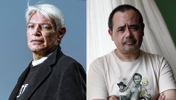 """De izquierda a derecha Juan Manuel Ochoa y Eduardo Adrianzén; quienes interpretaron respectivamente al 'Jaguar' y al 'Esclavo' en """"La ciudad y los perros"""". Fotos: Andrés Valle y César Campos para El Comercio."""