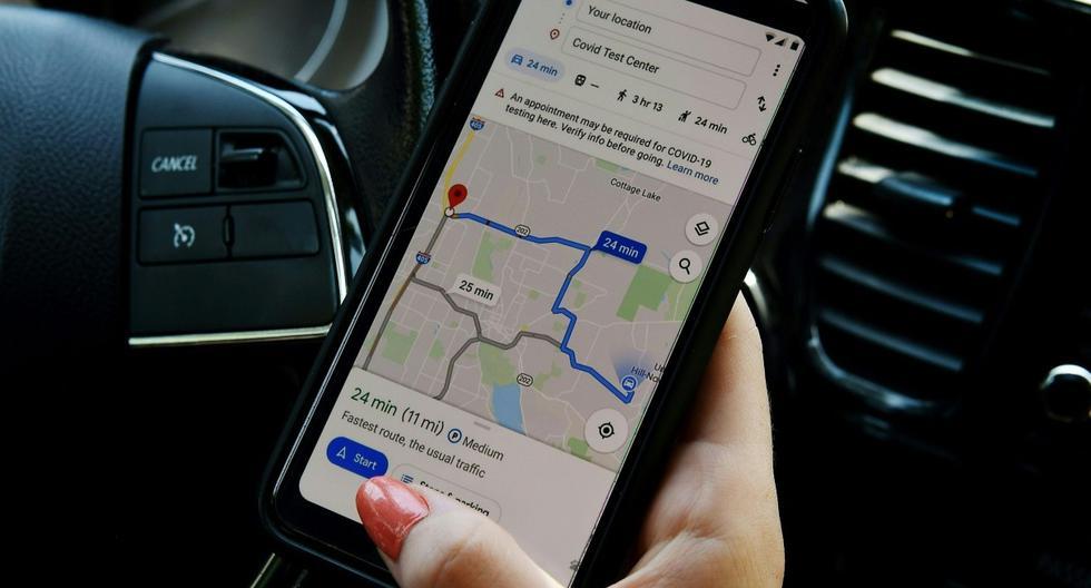 Imagen referencial. Esta imagen ilustrativa muestra la aplicación de mapas de Google en Virginia (Estados Unidos). (AFP / Olivier DOULIERY).