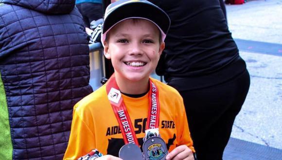 Aiden Jaquez, el niño de 11 años que hizo historia en Estados Unidos por correr medias maratones en los 50 estados que conforman el país | Foto: Aiden's 50 State Half Marathon Journey