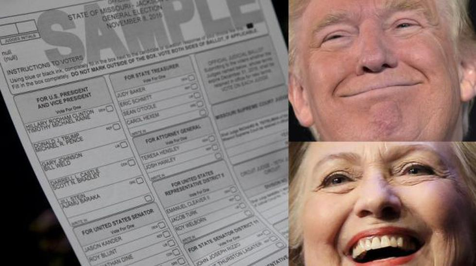 Así es la cédula con la que eligen entre Clinton o Trump - 1
