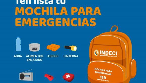 La mochila de emergencia es vital para estar preparados ante cualquier desastre natural. (Foto: Andina)