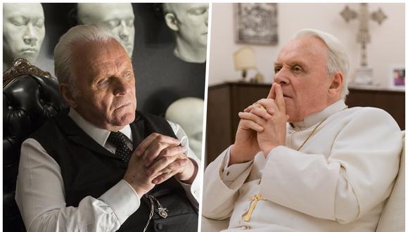 """Anthony Hopkins. A la izquierda como el Dr. Robert Ford en """"Westworld"""" (HBO), a la derecha como Benedicto XVI en """"The Two Popes"""" (Netflix). Este último rol le mereció una nominación al Oscar 2020. Fotos: Difusión."""
