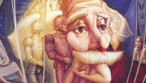 La imagen usada para este reto visual pertenece a la obra 'Metamorfosis por amor' del escultor mexicano Octavio Ocampo conocido por su pintura metamórfica. | Crédito: Miramar / Taringa.net