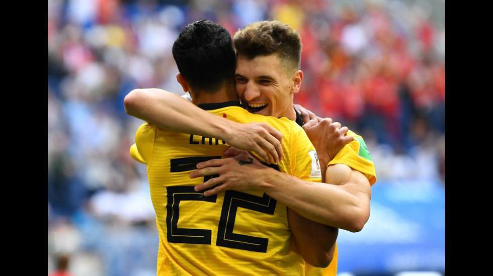 Thomas Meunier celebra gol de Bélgica ante Inglaterra (Foto: Agencias)