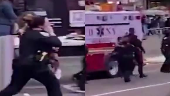 Un video viral muestra el heroico accionar de una oficial de policía al arriesgar su vida para cargar en brazos a una niña herida tras el tiroteo en Times Square. | Crédito: @NYPDDCPI / Twitter