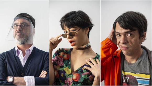 """De izquierda a derecha Carlos Carlí, Jely Reátegui y Gabriel Iglesias; parte del elenco de """"Historias virales"""". Foto: Elías Alfageme."""
