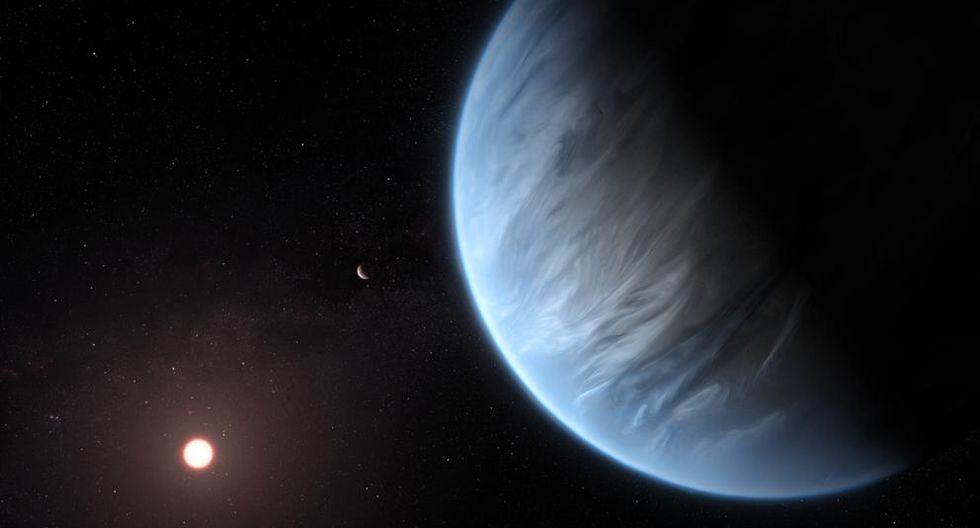 Representación del exoplaneta K2-18 b, junto a su estrella y otro planeta del mismo sistema. (Foto: ESA/Hubble/M.Kornmesser)