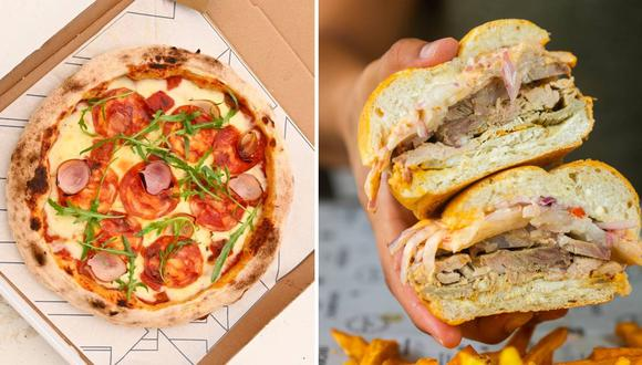 Izquierda: pizza Joselito con chorizo español, de la línea de pizzas de Felix Comedor. Derecha: sánguche de jamón del país de Chacho Taberna Sanguchera. Fotos: Facebook.