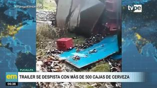 Pucallpa: tráiler se despista con más de 500 cajas de cerveza