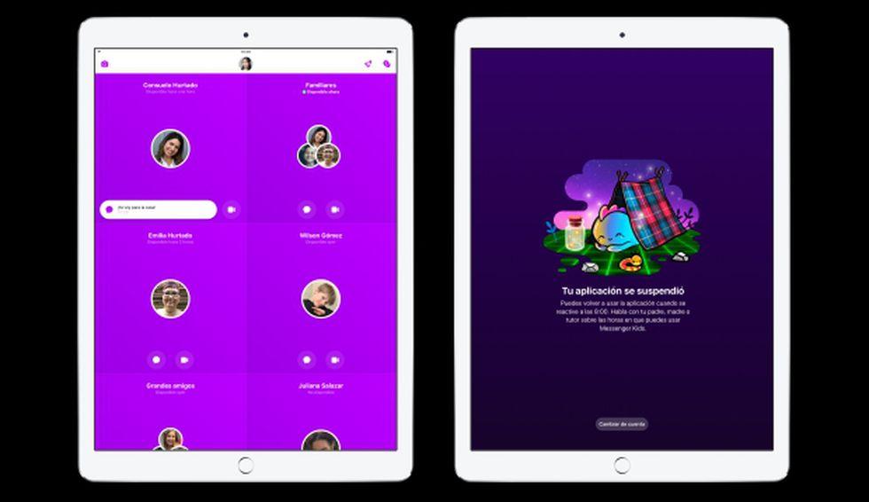 Así luce el entorno del dispositivo del niño que usa Messenger Kids. El Sleep Mode permite a los padres determinar en qué momentos del día estará activa la aplicación. (Facebook).