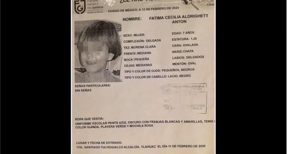 El pasado 11 de febrero, Fátima fue secuestrada al salir de su escuela en Ciudad de México. De acuerdo con los primeros reportes, la pequeña esperaba a que su mamá llegara a recogerla pero alguien se la llevó antes.