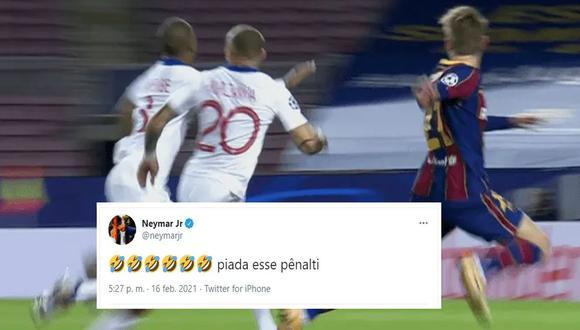 Neymar criticó el penal cobrado a favor del Barcelona, que terminó en el 1-0 de Lionel Messi ante PSG. (Foto: captura de imagen)