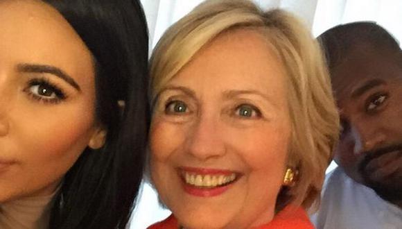 Kim Kardashian, Kanye West y su selfie con Hillary Clinton