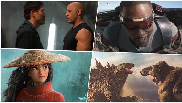 """""""Rápidos y furiosos 9"""", """"The Falcon and The Winter Soldier"""", """"Raya and the Last Dragon"""" y """"Godzilla vs. Kong"""" están entre las cintas que revelaron nuevos tráilers en marco del Super Bowl 2021. Fotos: Universal/ HBO Max/ Disney+."""