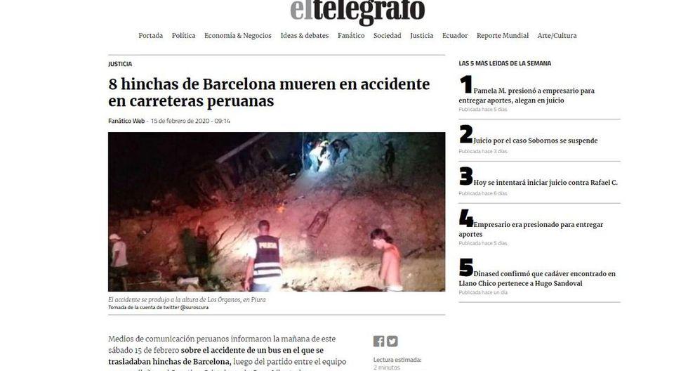 """El diario """"El Telégrafo"""" de Ecuador informó que la cancillería activará puntos de apoyo para hinchas del Barcelona SC accidentados en Perú. (El Telégrafo)."""