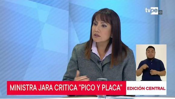La ministra María Jara se pronunció sobre el plan pico y placa para camiones. (TV Perú)