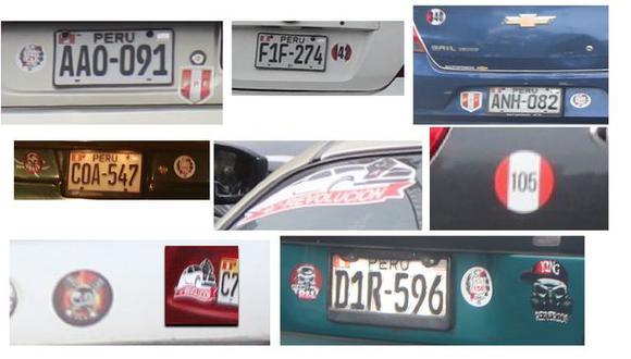 Estos son solo algunos stickers hallados detrás de los autos de choferes que fueron captados por esta red de cobro de cupos. Cada sticker es una ruta y sus choferes son protegidos por una organización.
