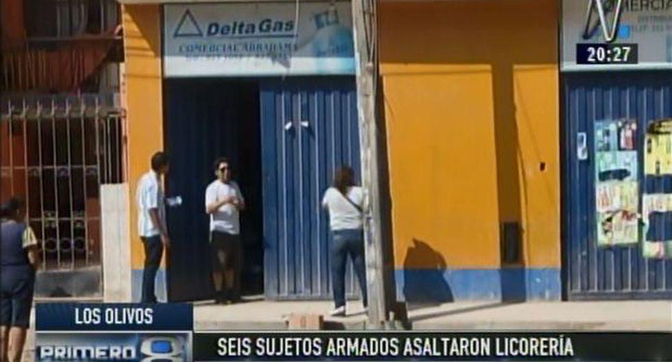 Los Olivos: banda asalta licorería y se lleva 50 mil soles