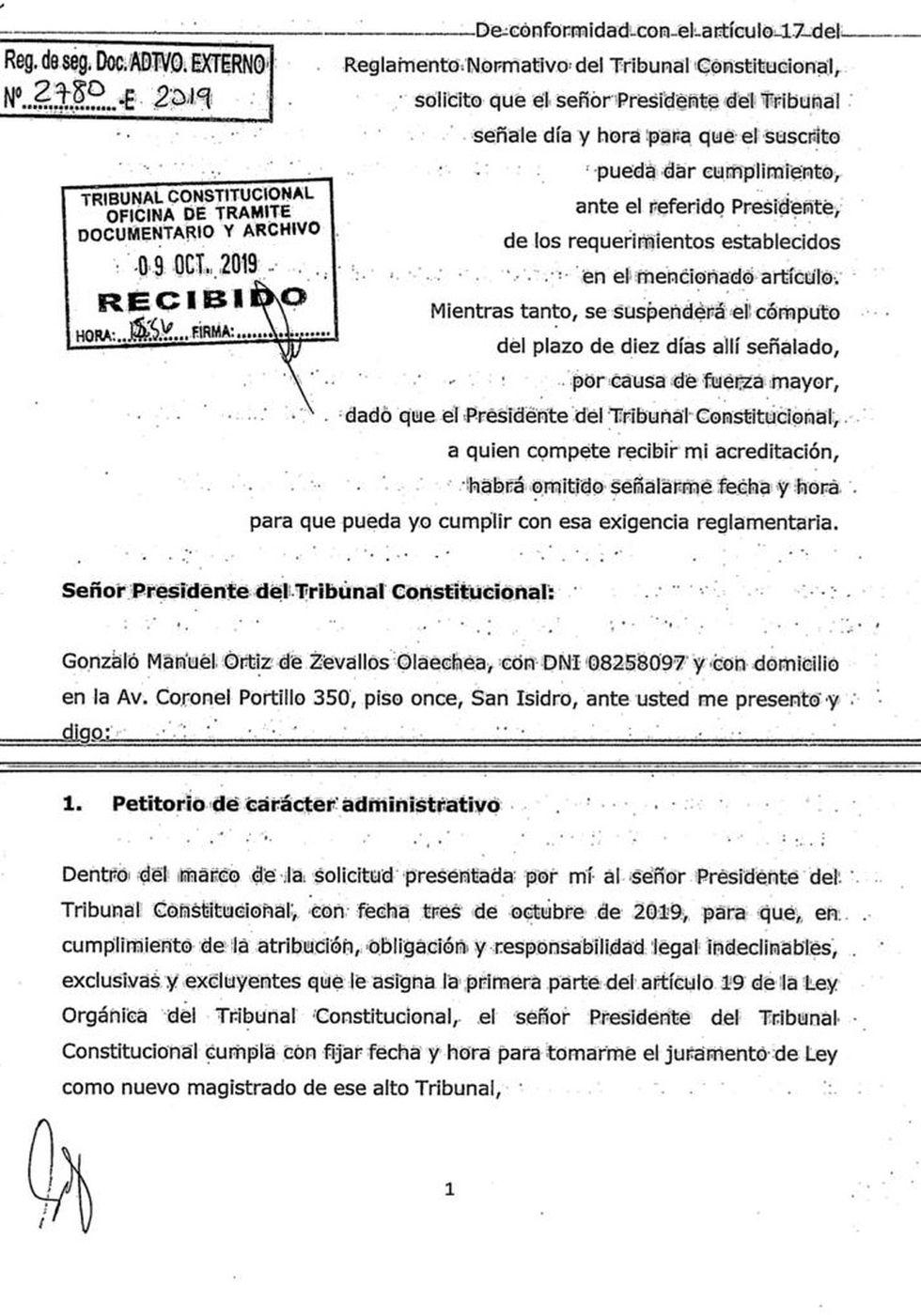 Escrito presentado por el abogado Gonzalo Ortíz de Zeballos.