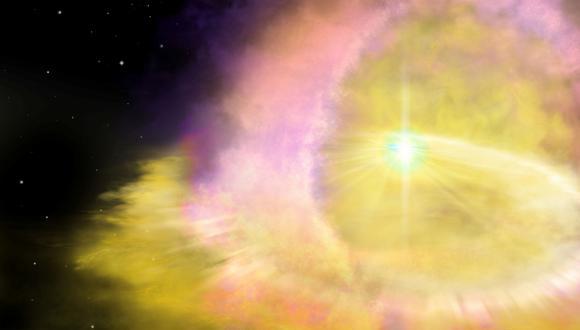 Representación de la Supernova SN2016aps. (Foto: EFE)