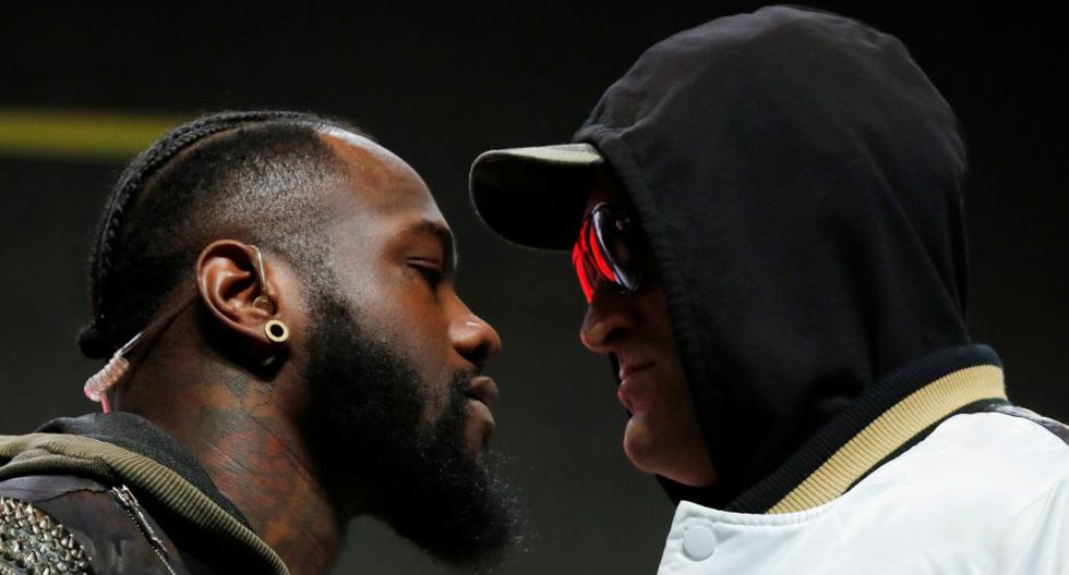 Boxing - Deontay Wilder & Tyson Fury Press Conference - The Grand Garden Arena at MGM Grand, Las Vegas, United States - February 19, 2020  Deontay Wilder and Tyson Fury go head to head during the press conference  REUTERS/Steve Marcus