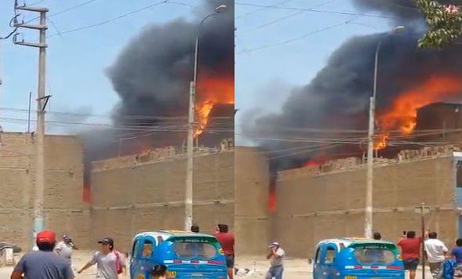 El incendio en Comas fue catalogado como código 2 por su magnitud. (Captura: @Capital967)