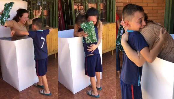 Un video viral que muestra el reencuentro entre una madre y su pequeño hijo conmovió a más de uno en las redes sociales.   Crédito: @AracelyCabriza / Twitter.