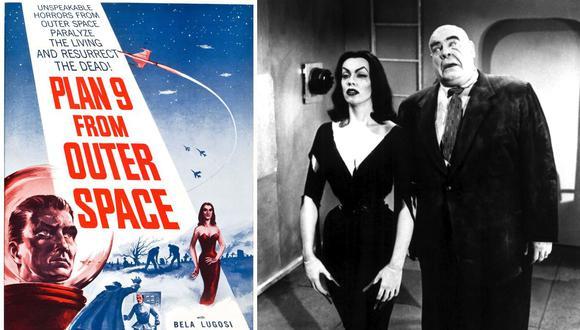 Izquierda: poster que se utilizó para promocionar la película. Derecha: la actriz Maila Nurmi, más conocida como 'Vampira', y el actor Tor Johnson como dos muertos vivientes.  (Foto: Valiant Pictures/Dominio público)