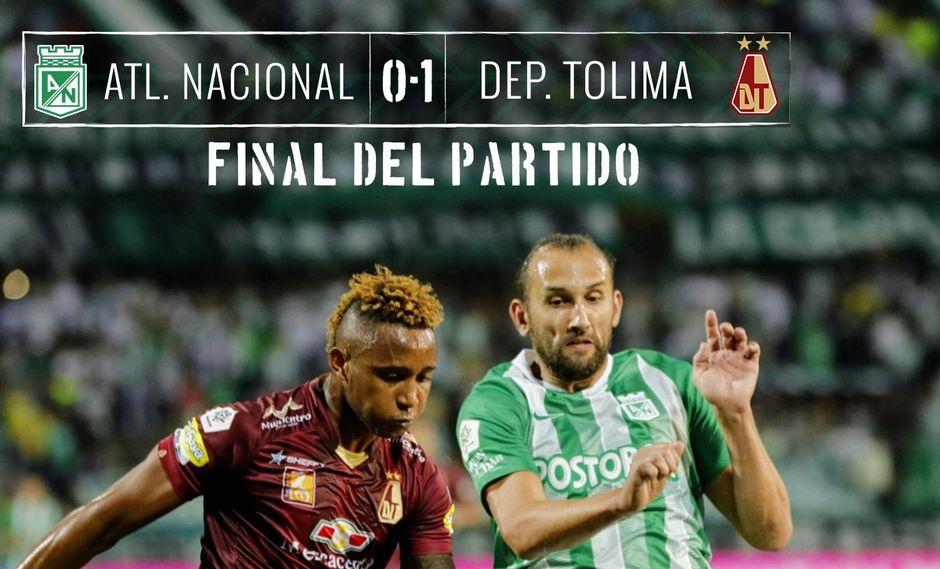Con un solitario gol de Jorge Ramos, Deportes Tolima sacó ventaja en el duelo de la ida de los cuartos de final ante Atlético Nacional en el estadio Atanasio Girardot. (Foto: Twitter AN)