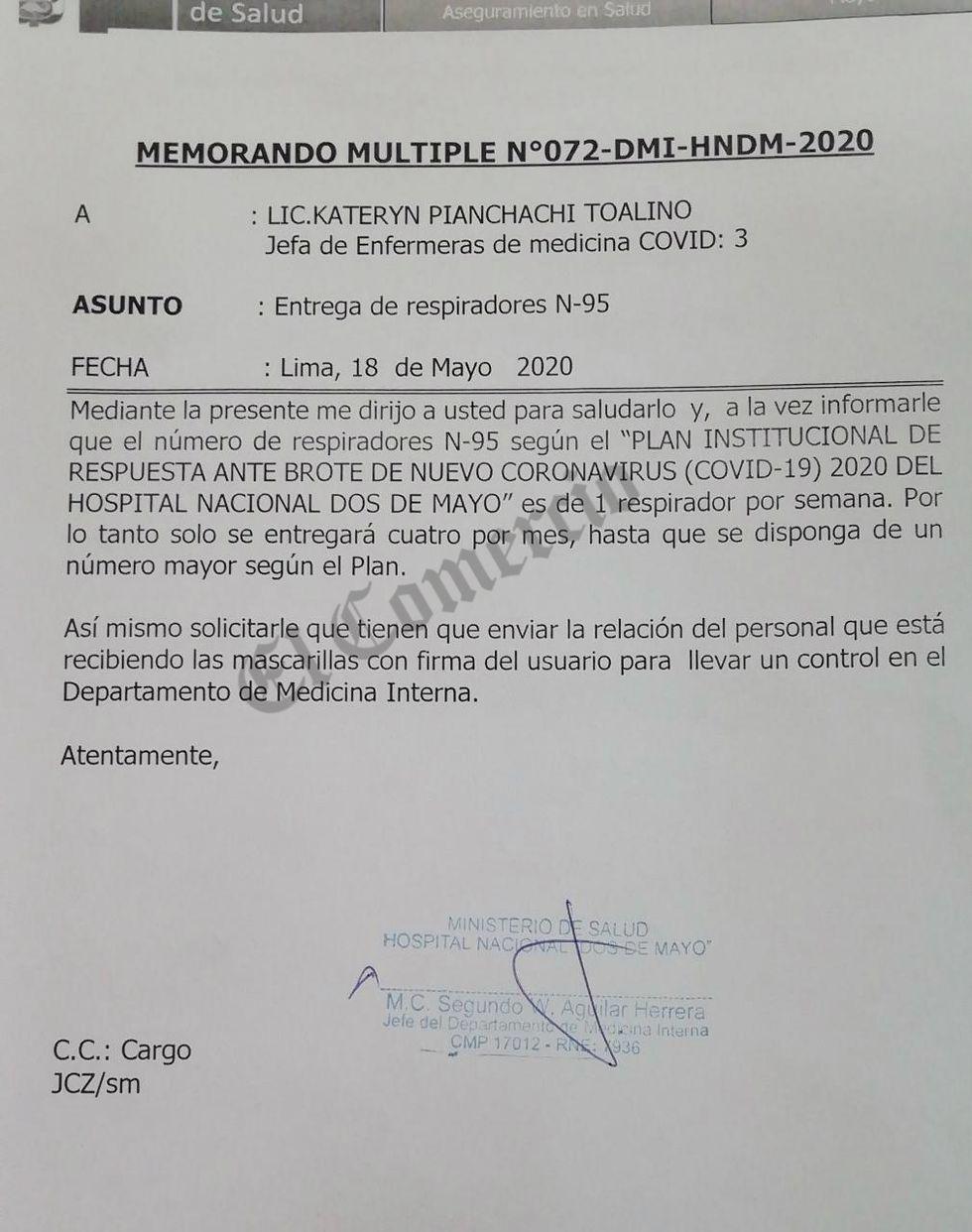 Documento entregado a personal del Hospital Dos de Mayo indicándoles que entregarán cuatro respiradores N95 al mes. (Foto: El Comercio)