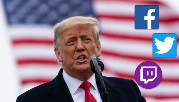 El expresidente Estados Unidos, Donald Trump, fue defenestrado de las redes sociales más importantes. (Foto: AP / Composición, El Comercio).