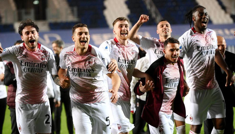 Los festejos de los jugadores tras vencer por 2-0 al Atalanta por Serie A. (Foto: AFP)