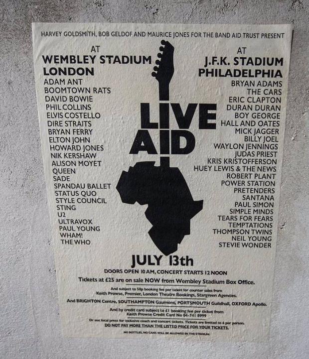 Póster del Live Aid en 1985 para conseguir fondos para combatir la hambruna en África. (Foto: Live Aid)