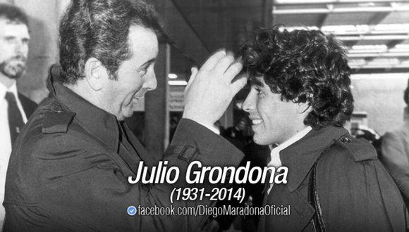 Maradona dio condolencias a familia de Grondona pero las borró