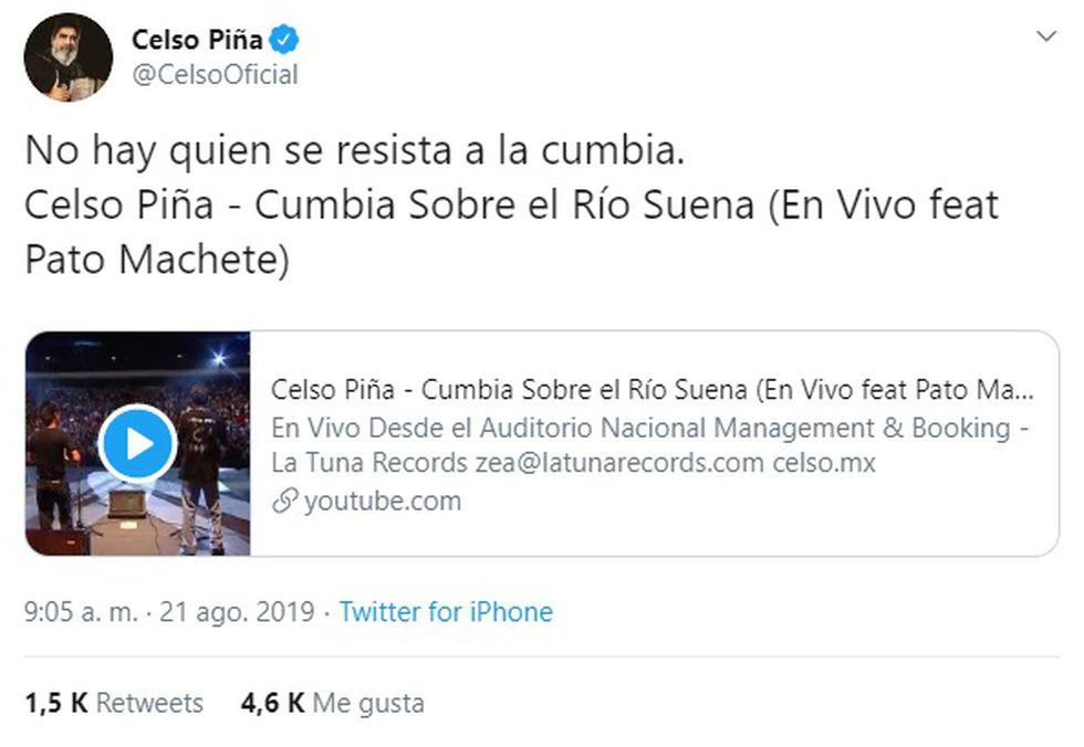 """El """"Rebelde del acordeón"""" falleció este miércoles tras sufrir un infarto en Monterrey, Nuevo León. Esta fue su última publicación en Twitter. (Foto: Crédito AFP)."""